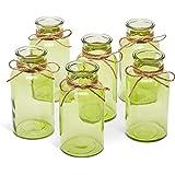 Antique Glass Bottles, 6 Pack Vintage Bottle Set, Farmhouse Rustic Home Decor, Clear/Amber/Gray Weddings/Bridal Showers/ Quin