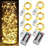 6PCS Fairy String Warm White Changing Twinkle Lights with 2pcs Remote, 6.5ft 20 LEDs Silver Wire,CR2032 Battery Powered,Indoo