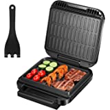 Deik 2 in 1 Electric Indoor Grill & Panini Press Grill, 1200W Smokeless Grill with Double-Sided Heating Plates, Thermostat Co