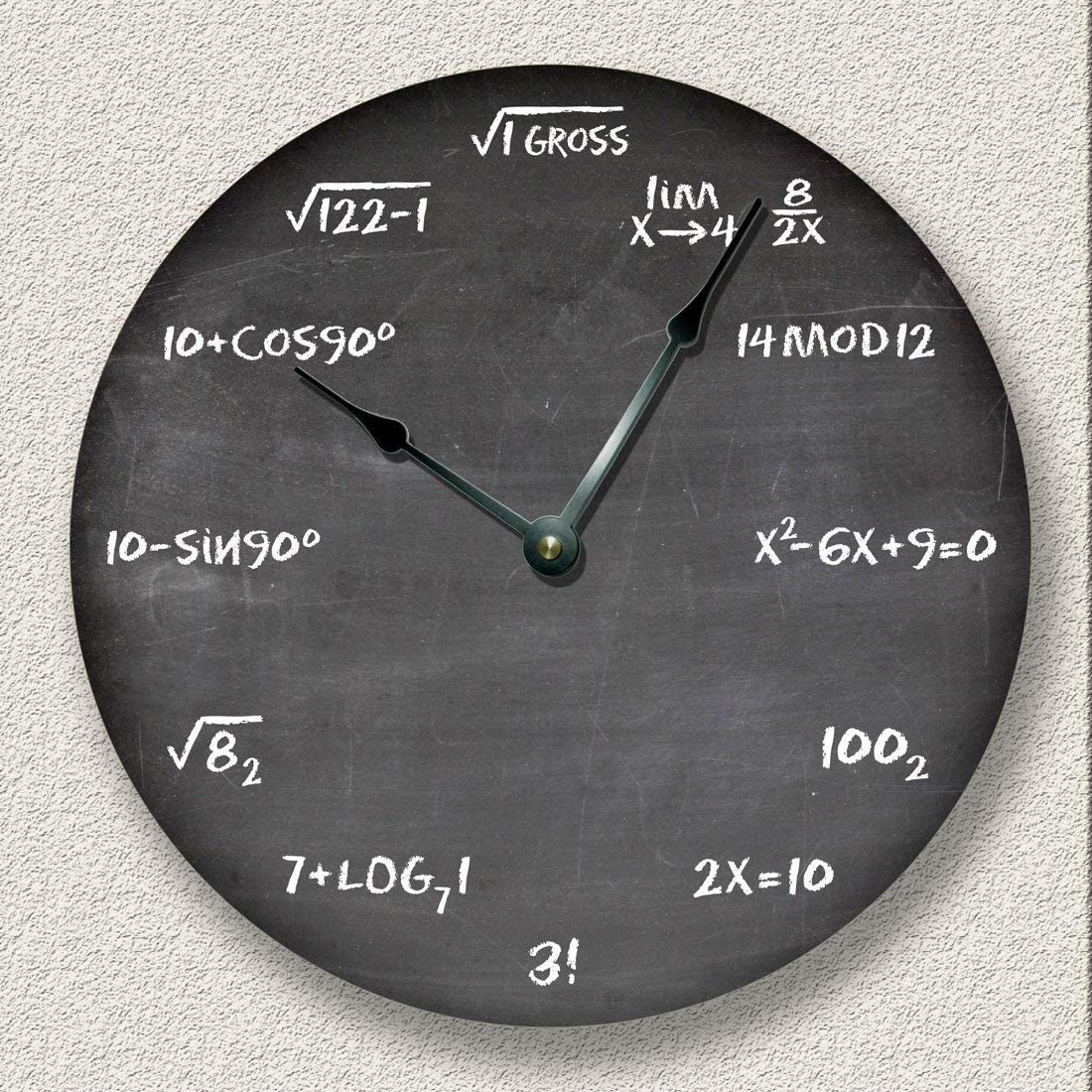 Math Wall Clock Black Chalkboard for Teachers or Students