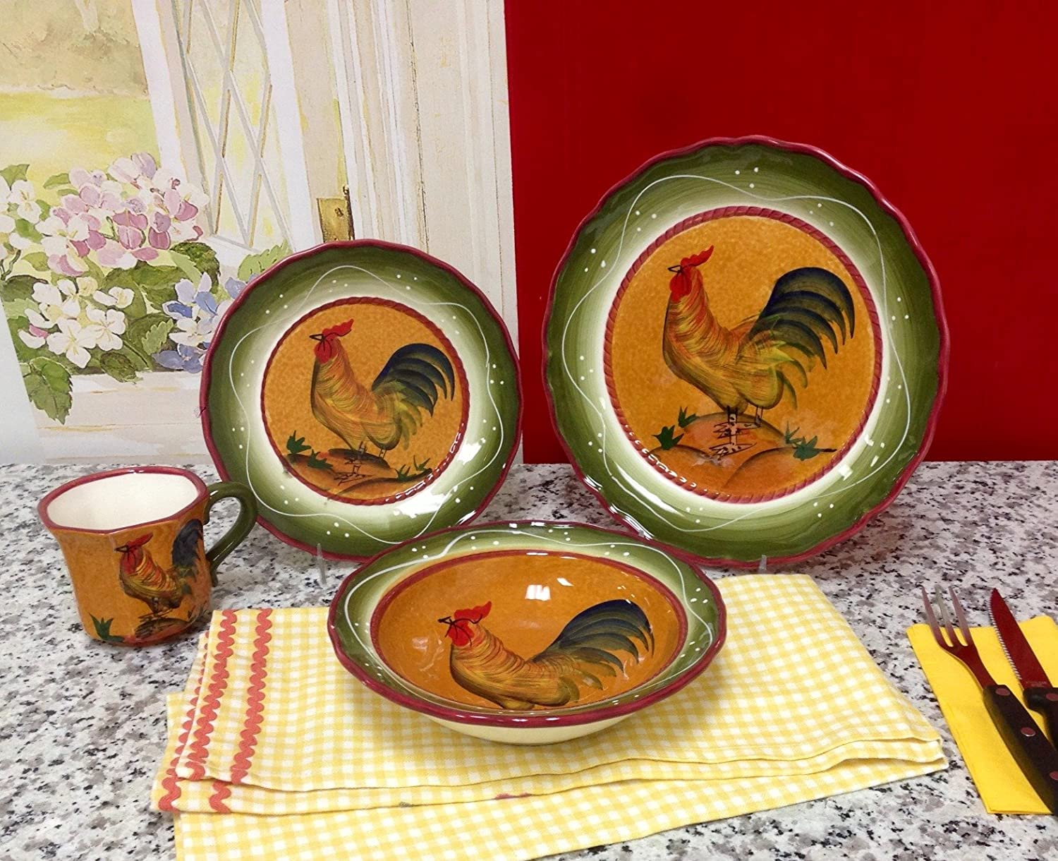 Amazon.com - Tuscan Sunshine Country Rooster Hand Painted collection ( DINNERWARE SET) - Kitchen Storage And Organization Product Sets & Amazon.com - Tuscan Sunshine Country Rooster Hand Painted collection ...