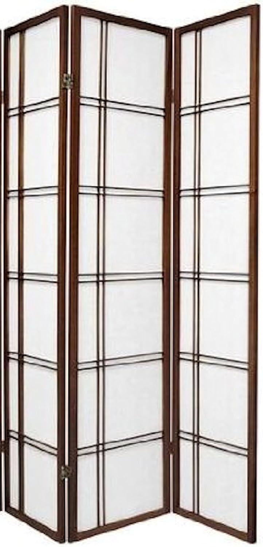 3 Panel, Espresso Espresso and White Color Natural Legacy Decor 3 and 4 Panel Room Dividers in Black Cherry