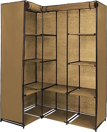 BB Sport Armario Plegable 169 x 130 x 45 cm de Muchos Colores Armario ropero de Esquina Armario de Tela con 12 Compartimentos y 2 Barras para Perchas, Color:Beis Capuchino: Amazon.es: Hogar
