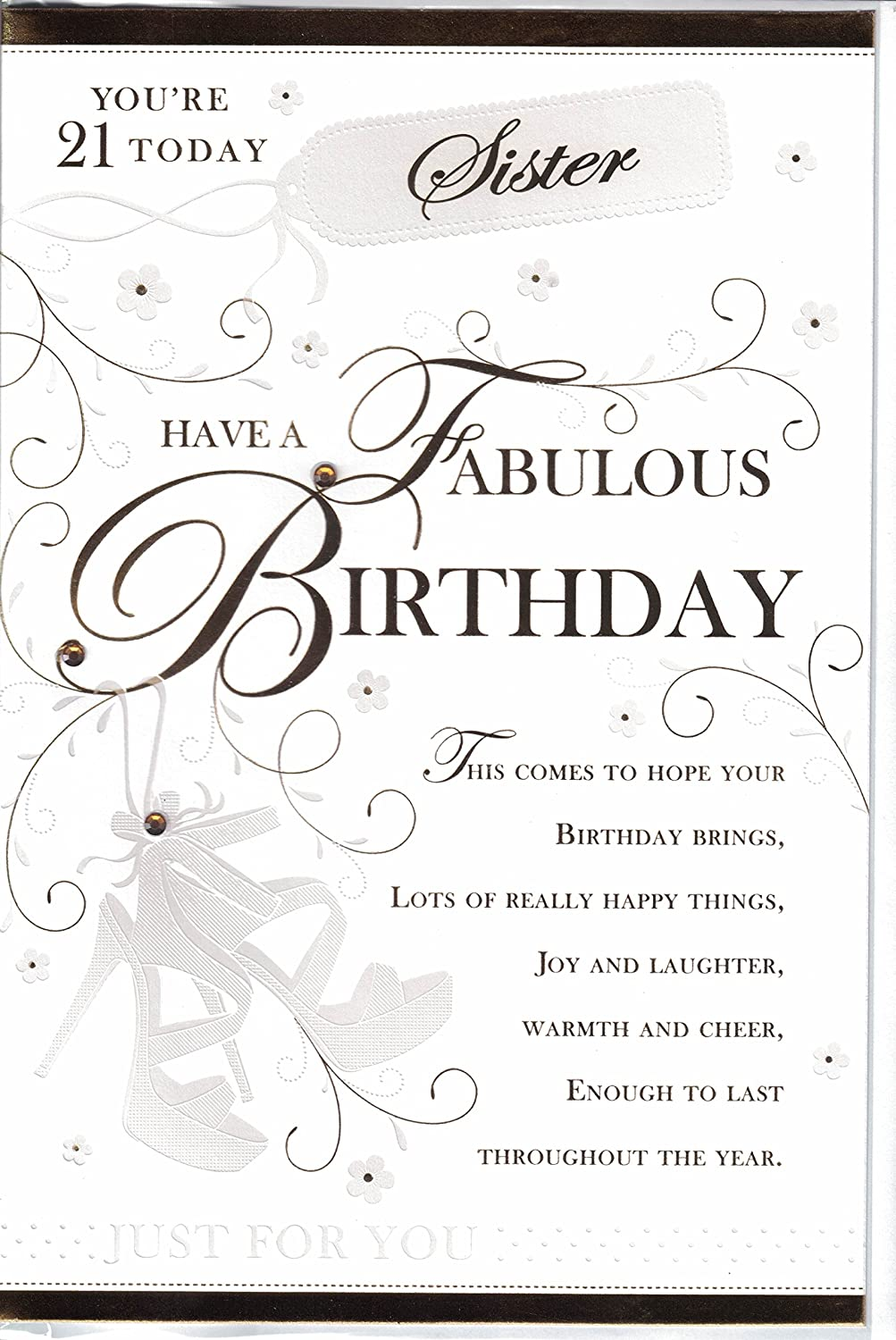 Sister 21st Birthday Card To A Wonderful Sister Whos 21 Today – Sister 21st Birthday Card