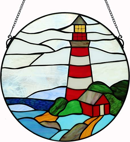 Yogoart 16 Inch Round Stained Glass Window Hanging Pagoda and Lighthouse Tiffany Stained Glass Window Panel with Hanging Chain