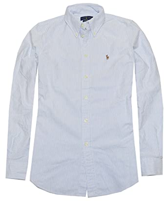 a0c5213d Ralph Lauren Women Custom Fit Striped Oxford Shirt at Amazon Women's  Clothing store: