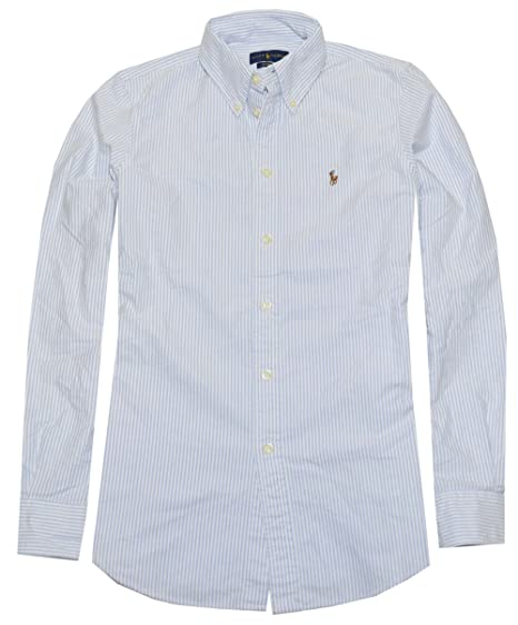 Ralph Lauren Women Classic Fit Striped Oxford Shirt (X-Small, Powder Blue  a4f4734de52b