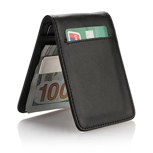 aaac7e5051fe YOOMALL Slim Money Clip Wallets for Men Front Pocket Wallet Card Holder  (black)