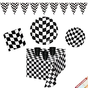 Amazon Com Black And White Checkered Party Supplies Plates