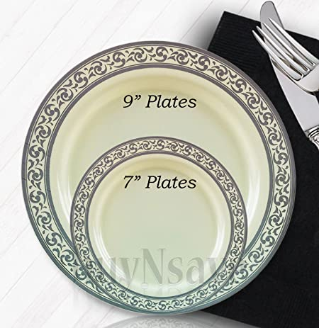 buyNsave Cream with Silver Heavyweight Plastic Elegant Disposable Plates Wedding Party Elegant Dinnerware Decor : disposable plates wedding - Pezcame.Com