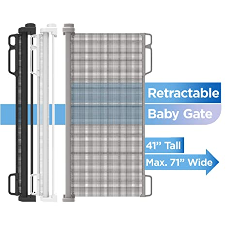 """Baby Gate Retractable Gray Stair Child Expandable Up To 71/"""" UV Mesh Fence Guard"""