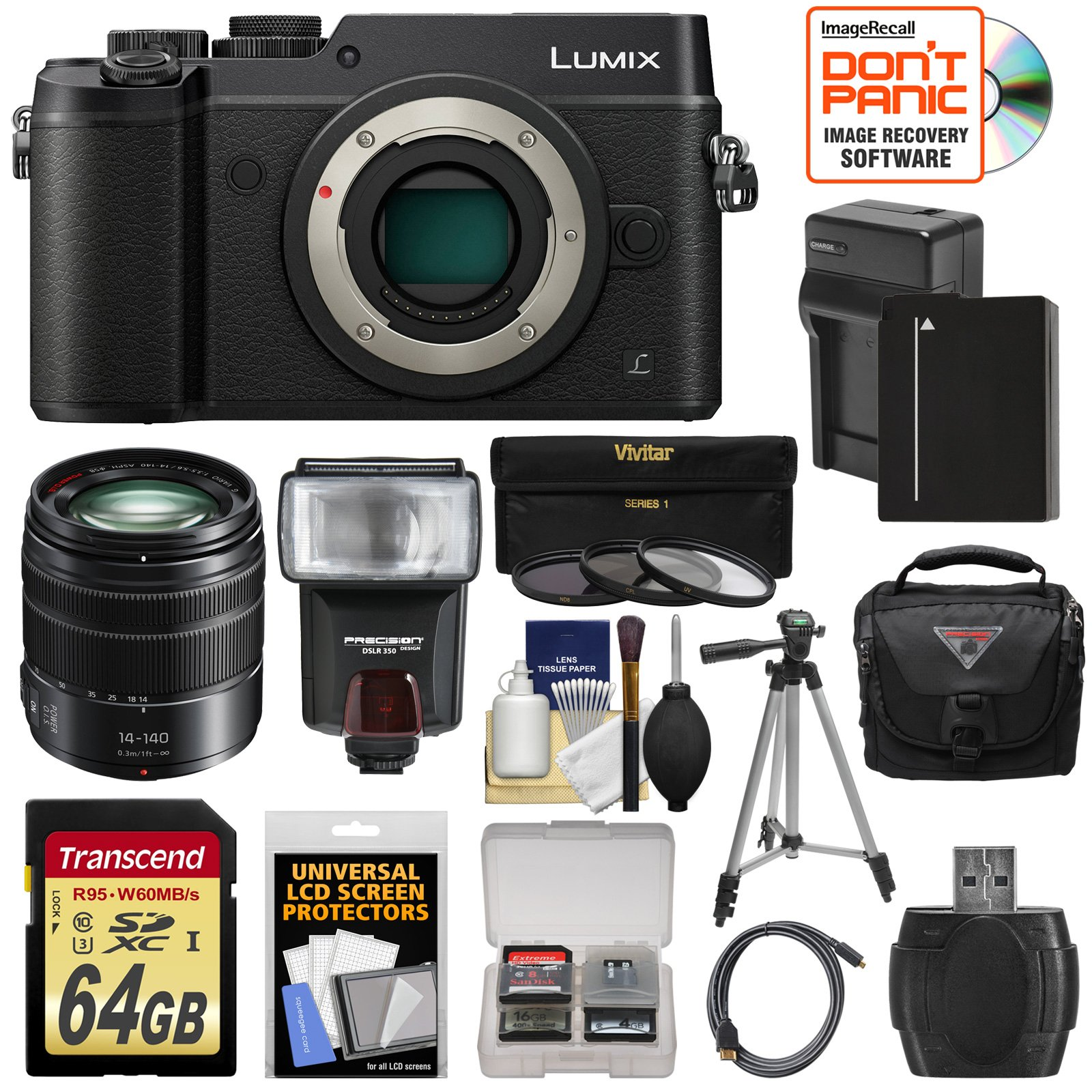 Panasonic Lumix DMC-GX8 4K Wi-Fi Digital Camera Body (Black) with 14-140mm Power OIS Lens + 64GB Card + Battery & Charger + Case + Flash + Tripod Kit