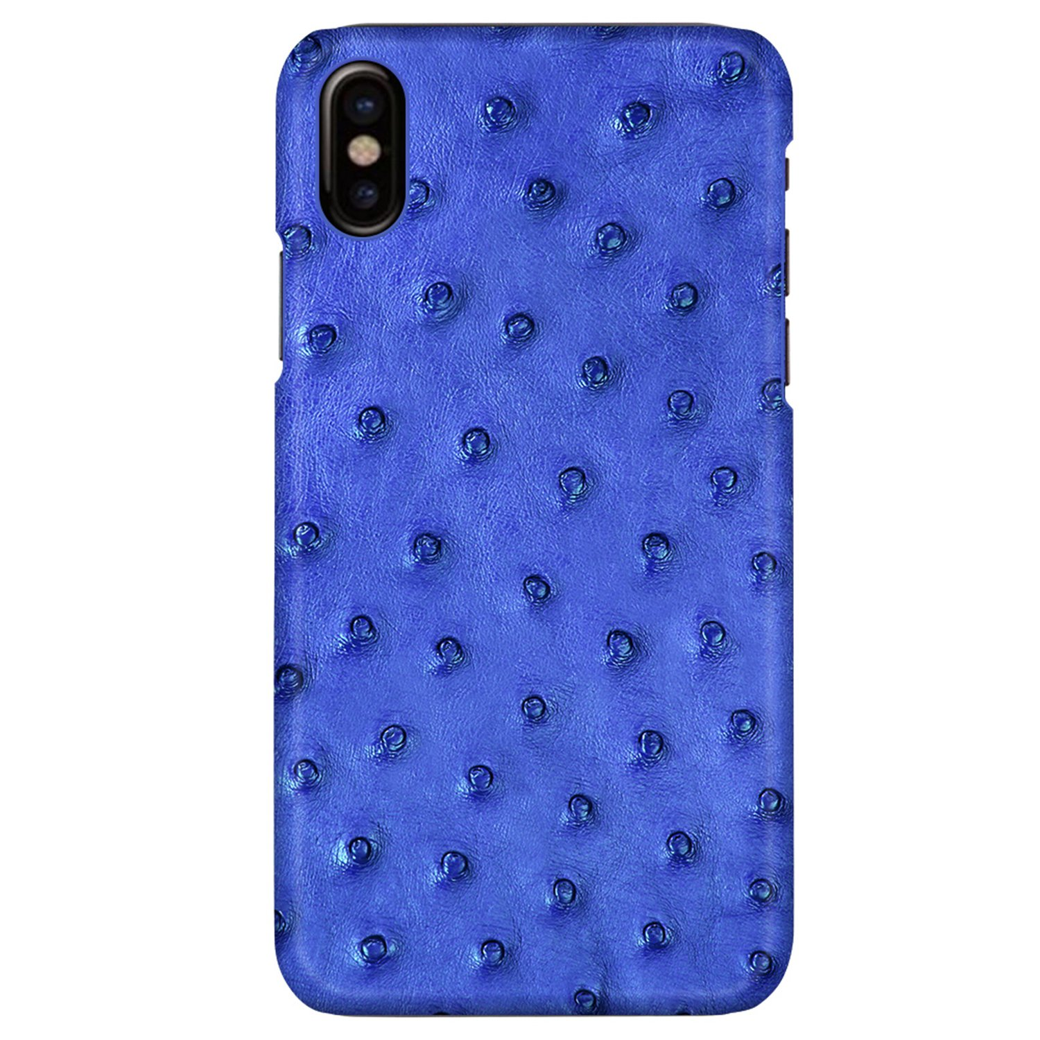UU&T Luxury Case Classic Ostrich Leather Lightweight Hardshell Back Case for iPhone X 5.8 Inch (Blue)