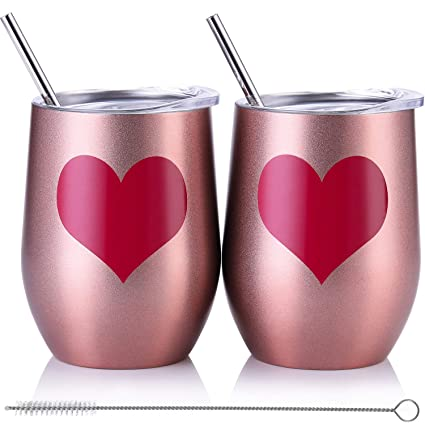 9db2a68eefa Skylety 12 oz Double-insulated Wine Tumbler, Stainless Steel Tumbler Cup  with Lids and