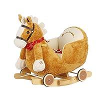 Dunjo Cavallino a dondolo marron chiaro con poltroncina in peluche, basculante in legno per dondolare, ruote per andare al galoppo e divertentissima suoneria
