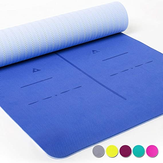Heathyoga Eco Friendly 6mm Thick SGS Certified, TPE Textured, Non-Slip Extra Large Yoga Mat with Carry Strap, 183 cm x 65 cm