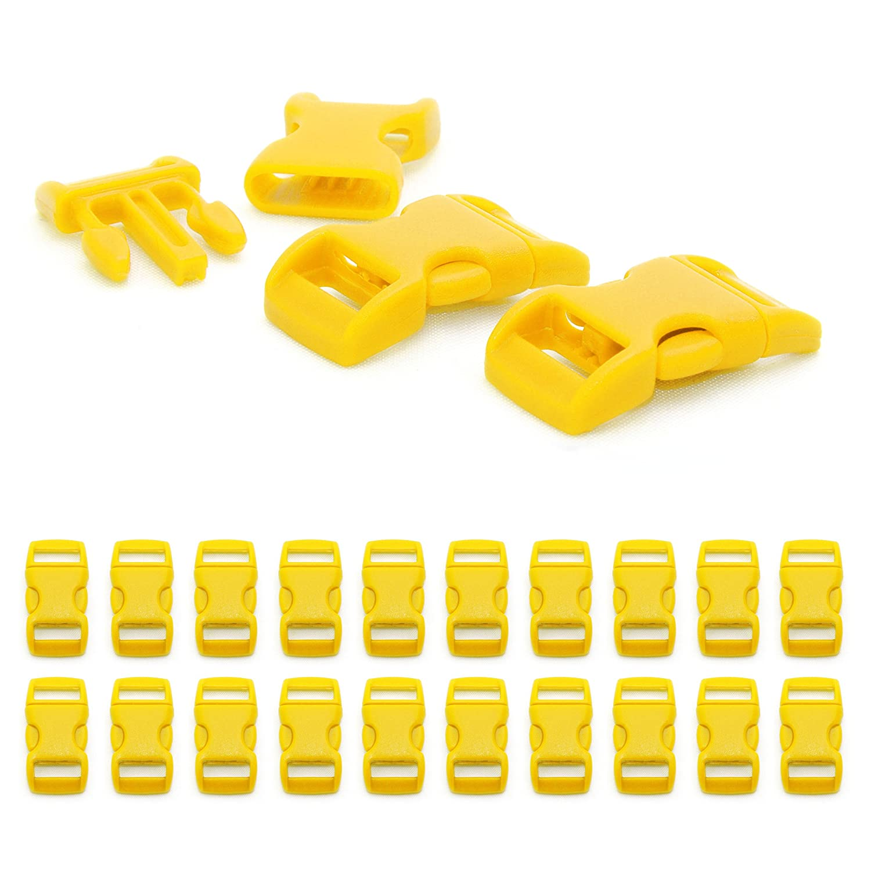 """lot de 20 fermoirs Fermoir /à clip en plastique boucle bracelet, collier pour chien, etc attache /à clipser id/éal pour les paracordes 29mm x 15mm couleur: jaune grandeur: 3//8/"""" de la marque Ganzoo"""