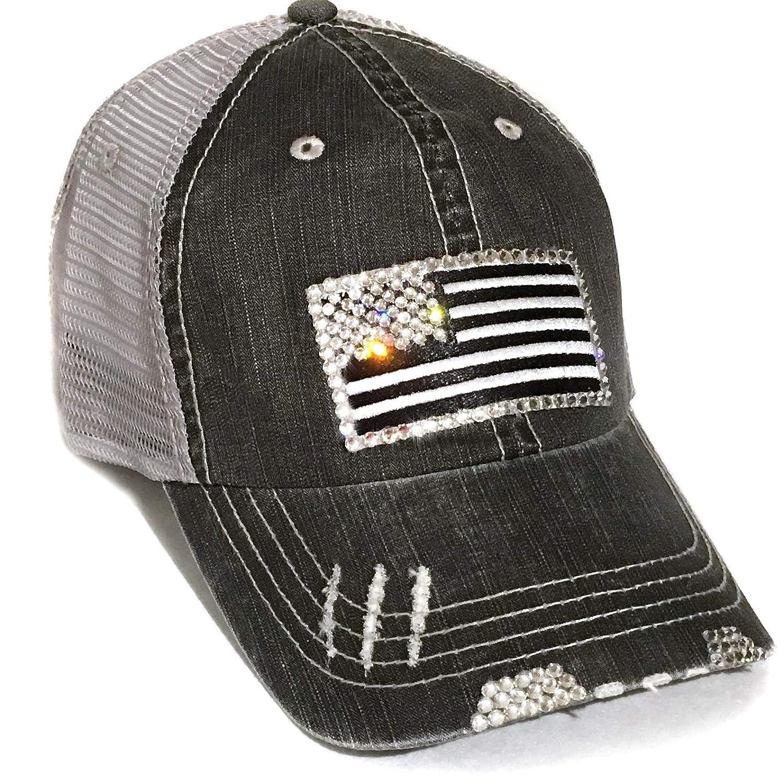 Womens Black American Flag Hat Distressed Baseball Cap Mesh Back Trucker Bling