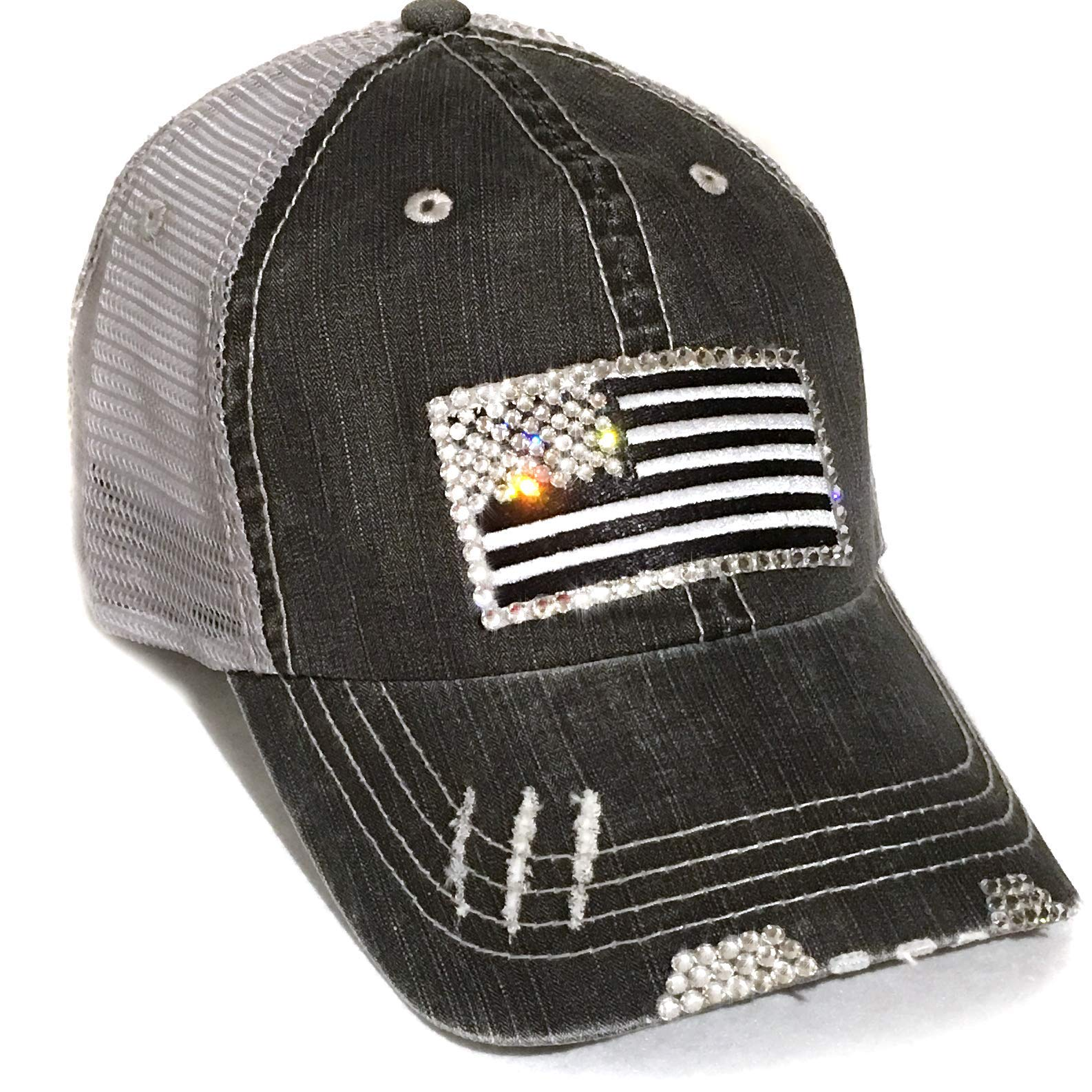 Womens Black American Flag Hat Distressed Baseball Cap Mesh Back Trucker Bling