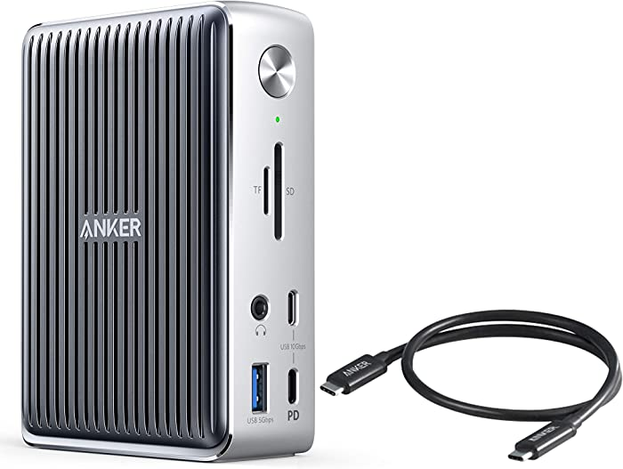 Anker Thunderbolt 3 Docking Station and Thunderbolt 3 Cable Bundle, PowerExpand Elite 13-in-1 Thunderbolt 3 Dock, 1.6 ft Thunderbolt 3 Cable, for MacBook Pro, MacBook Air 2018 and later, XPS, and More
