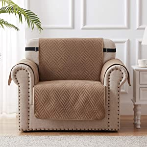 100% Waterproof Chair Slipcover Furniture Protector Couch Covers with Adjustable Elastic Strap and Non-Slip Backing - Taupe/Beige Diamond Pattern