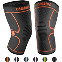 Cambivo Knee Support Brace, Knee Compression Sleeve for Running, Arthritis, ACL, Meniscus Tear, Sports, Joint Pain Relief and Injury Recovery (FDA Approved) - 2 Pack