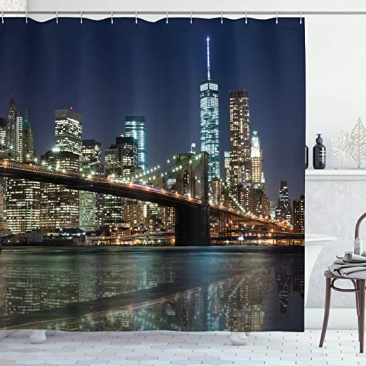 Landscape Shower Curtain Urban Skyline of NYC Print for Bathroom