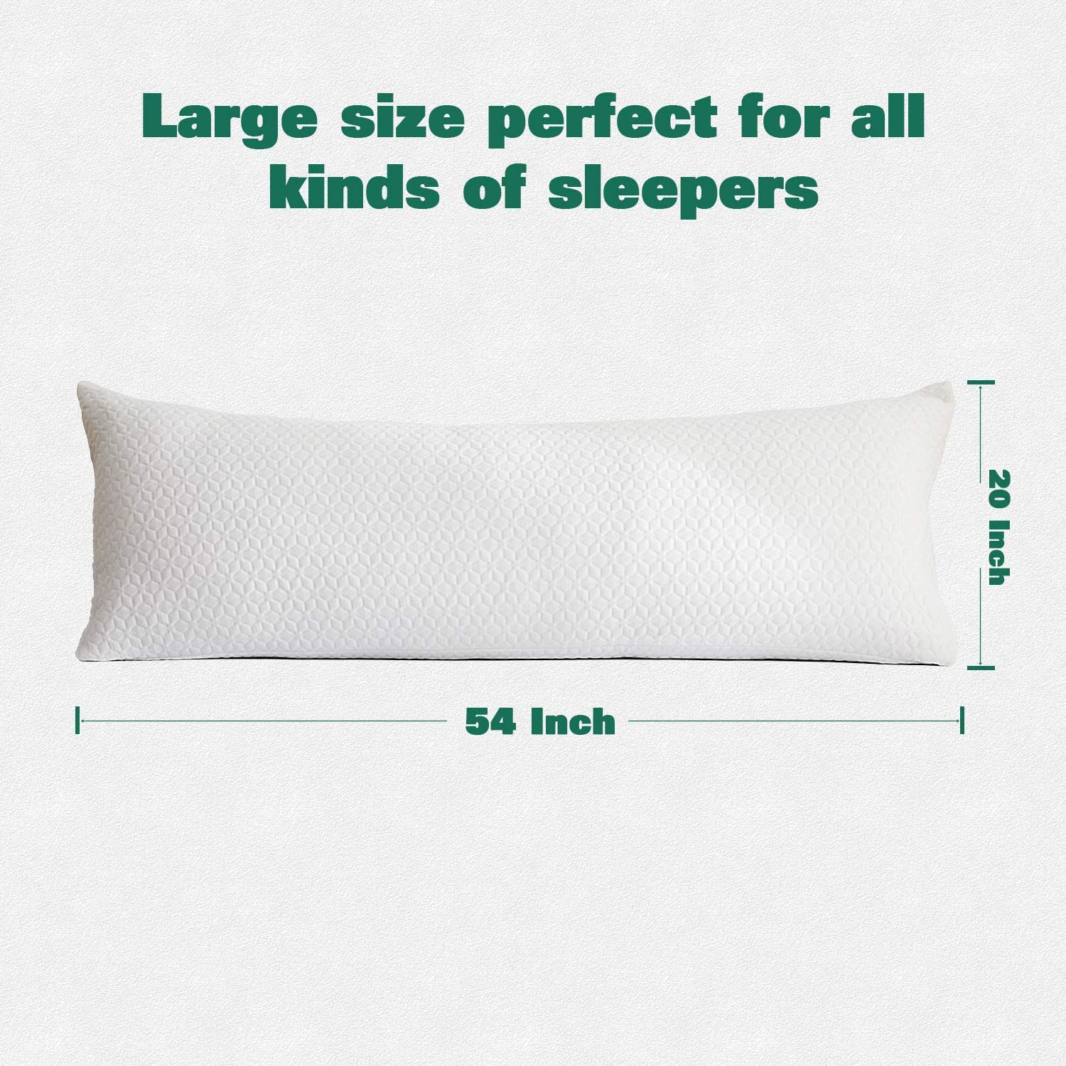 Yalamila Full Body Pillow Set for Adults, Soft Long Bed Pillow, Body Piilows Set with Pillowcase, Removable Zippered Bamboo Cover Cooling Breathable, 20x54 inch, Body Pillow Insert with Cover: Home & Kitchen