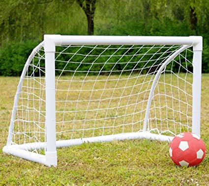 Mini Soccer Goals 4x3 FT   IiSPORT Kids Soccer Goal Net, 50mm Diameter PVC  Frame