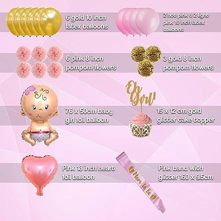 Amazon.com: Baby Shower Decorations for Girl Kit - Set de 56 ...