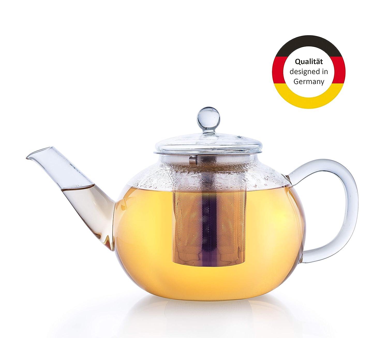 Teekanne aus Glas Edelstahl Deckel Filter 1,2 l  18 x 15 x 14,5 cm Tee Kanne neu
