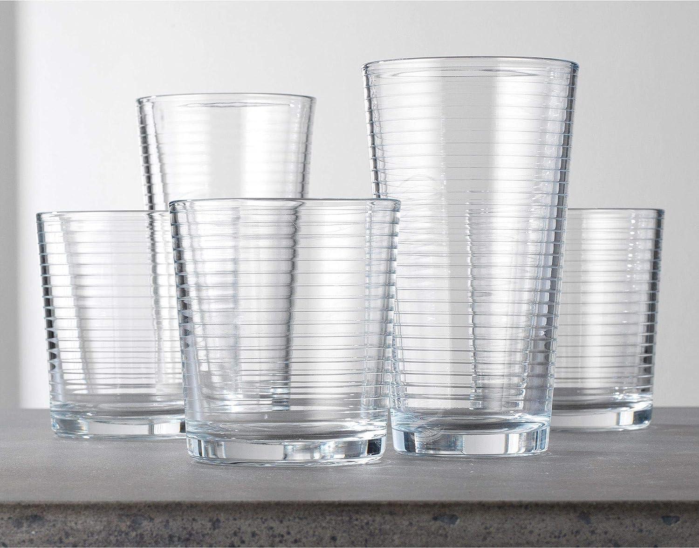 13oz and 8 Rocks Glasses Set of 16 Heavy Base Ribbed Durable Drinking Glasses Includes 8 Cooler Glasses 17oz 16-piece Elegant Glassware Set Le/'raze