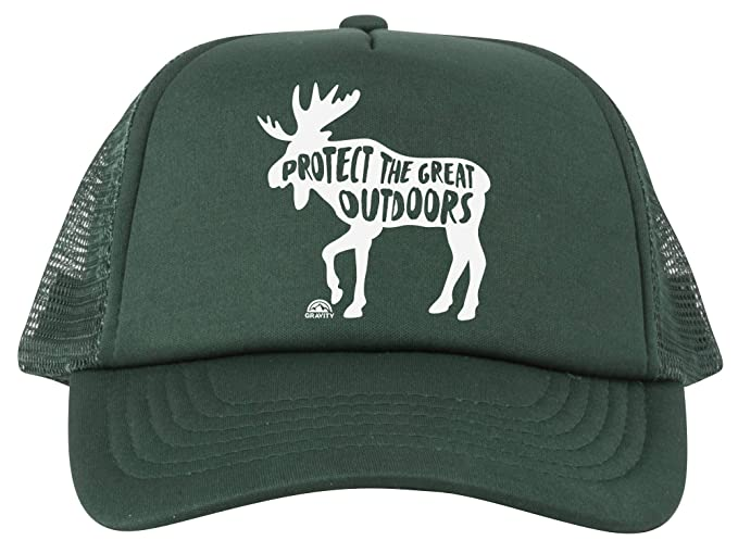 0eaa3600dce68 Protect The Great Outdoors Moose Trucker Hat - White - Forest Green ...
