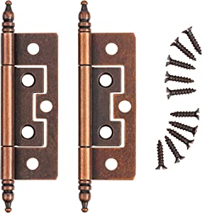 Statuary Bronze Non-Mortise Butt Hinge w/ Steeple Finial | 10 Pairs/Pack | Cabinet Door Furniture Hardware - H-57