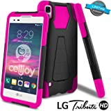 LG Tribute HD Case, LG X Style Case, CellJoy [Transformer Armor] LG LS676 Hybrid Slim Fit ((ShockProof)) Reinforced Impact Shield Bumper [Heavy Duty] Protection {Kickstand} - Thin Hard Cover (Pink)