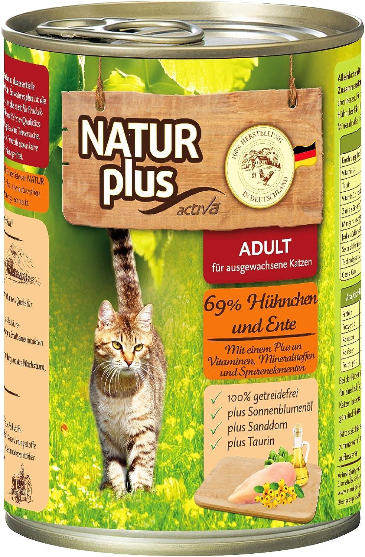 natural Plus gato Forro Adult con pollo 69% & Pato – getreidefrei – 6 x 400 g: Amazon.es: Productos para mascotas