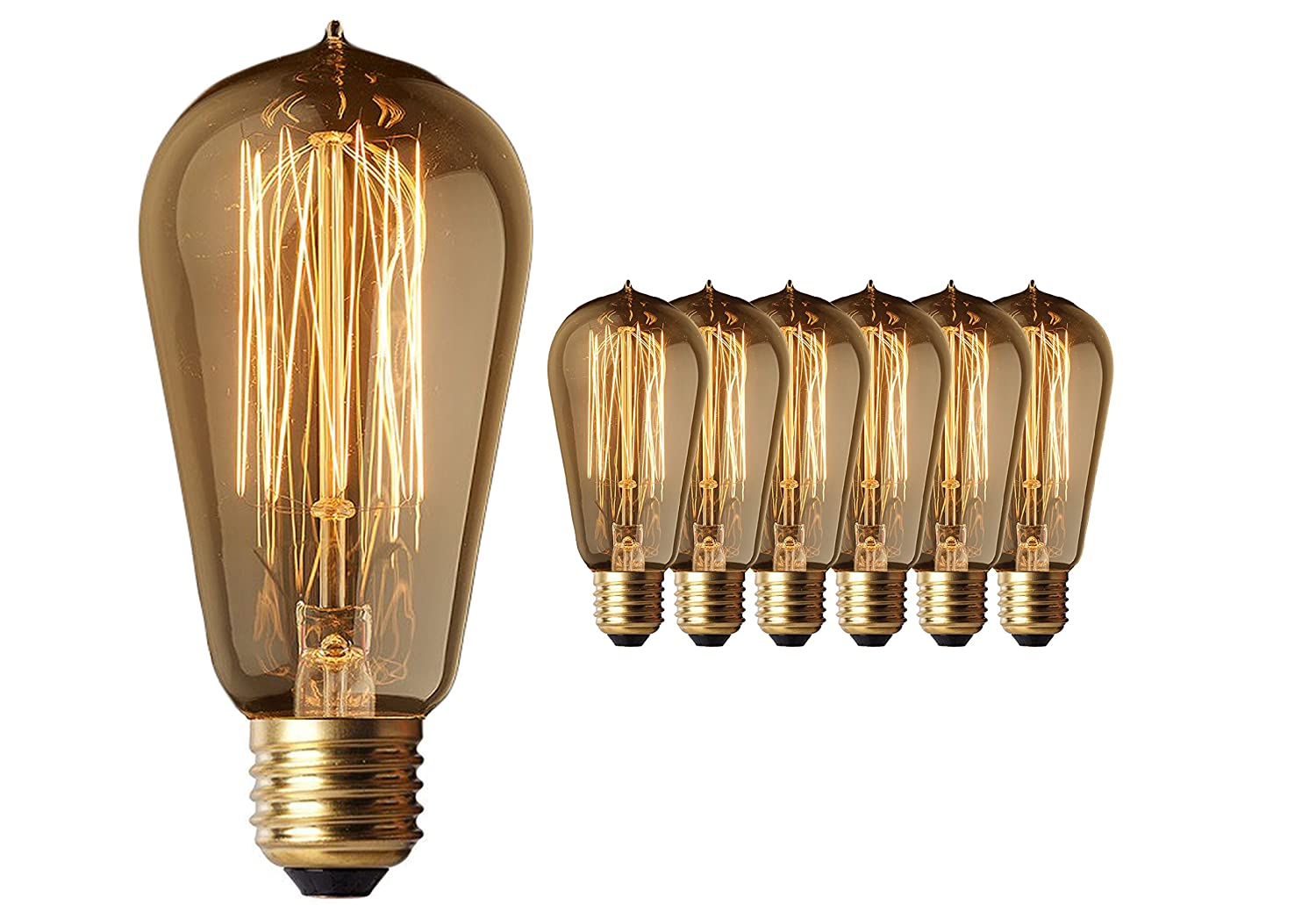 6 Pack - Old Fashion Edison Light Bulbs - Highly Rated - 60W Vintage Squirrel Cage Filament - 120 Volts - 230 Lumens - ST58 Teardrop - Dimmable Antique Amber Lighting - Warranty Included