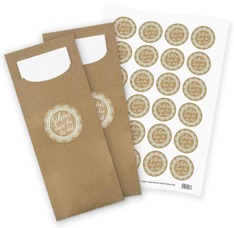 itenga Lot de 24 Pochettes /à couverts en papier avec serviette I Sch/önn DASS du da bist Vintage I 8,2 cm x 20 cm I Convient pour toutes les occasions et c/él/ébrations