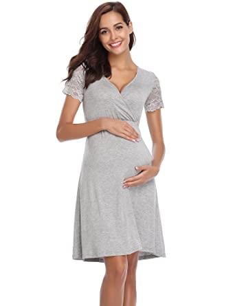aec0c61deba0 Aibrou Womens Maternity Dresses Baby Shower Dress Pregnancy Nightgown  Womens Delivery Gown at Amazon Women s Clothing store