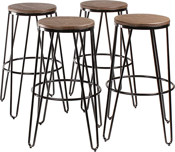 Kate And Laurel Tully Backless Modern Wood And Metal 30 Bar Stools Set Of 4 Black With Wood Seat Home Kitchen