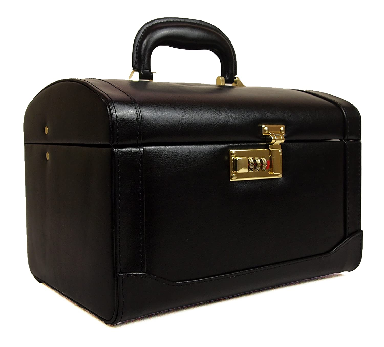 High Quality Large Hand Crafted Leather Vanity Make Up Jewellery Toiletries