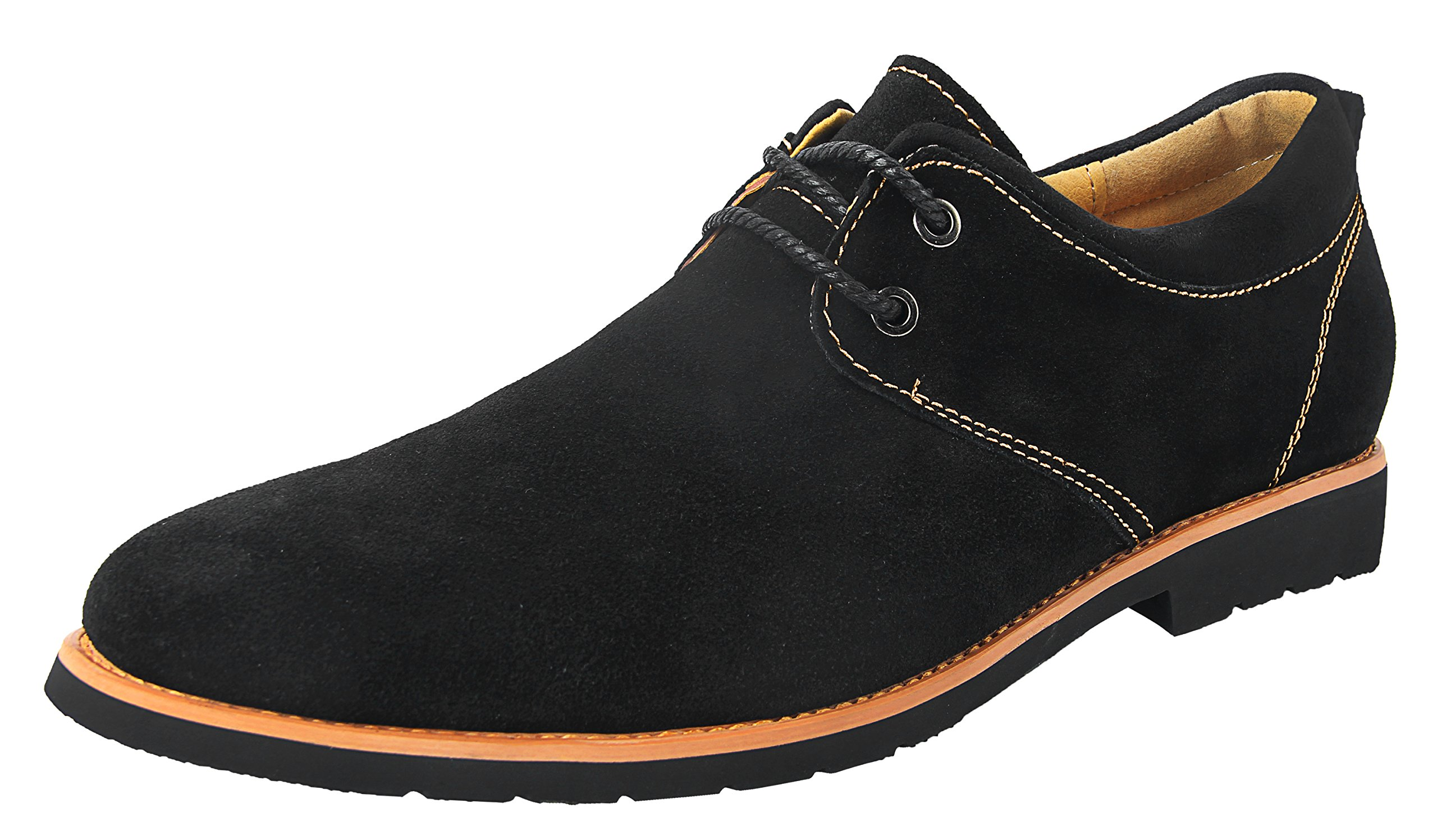 iLoveSIA Men's Classic Dress Oxford Suede Leather Formal Shoe Black/Golden Lining US Size 10
