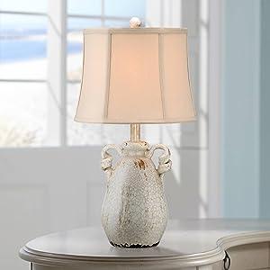 Sofia Cottage Accent Table Lamp Rustic Ceramic Crackle Ivory Jar Beige Bell Shade for Living Room Family Bedroom Bedside - Regency Hill