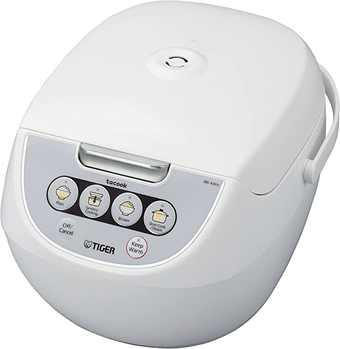 TIGER JBV-A10U 5.5-Cup (Uncooked) Micom Rice Cooker with Food Steamer Basket, White