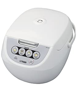 Tiger JBV-A18U-W 10-Cup (Uncooked) Micom Rice Cooker with Food Steamer & Slow Cooker, White