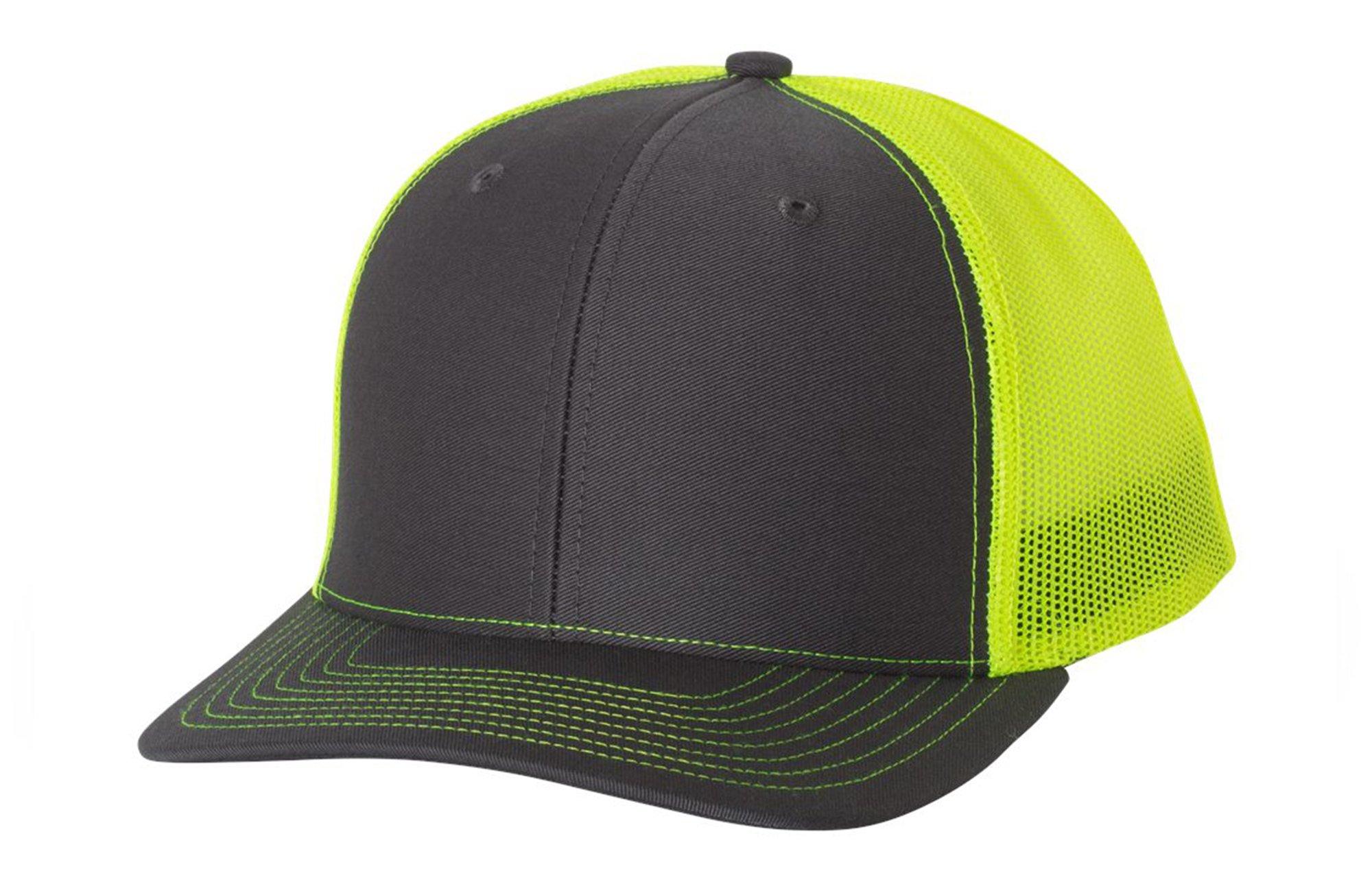 509d94cad36102 LogoUp Richardson 112 Trucker Snapback - Charcoal/Neon Yellow