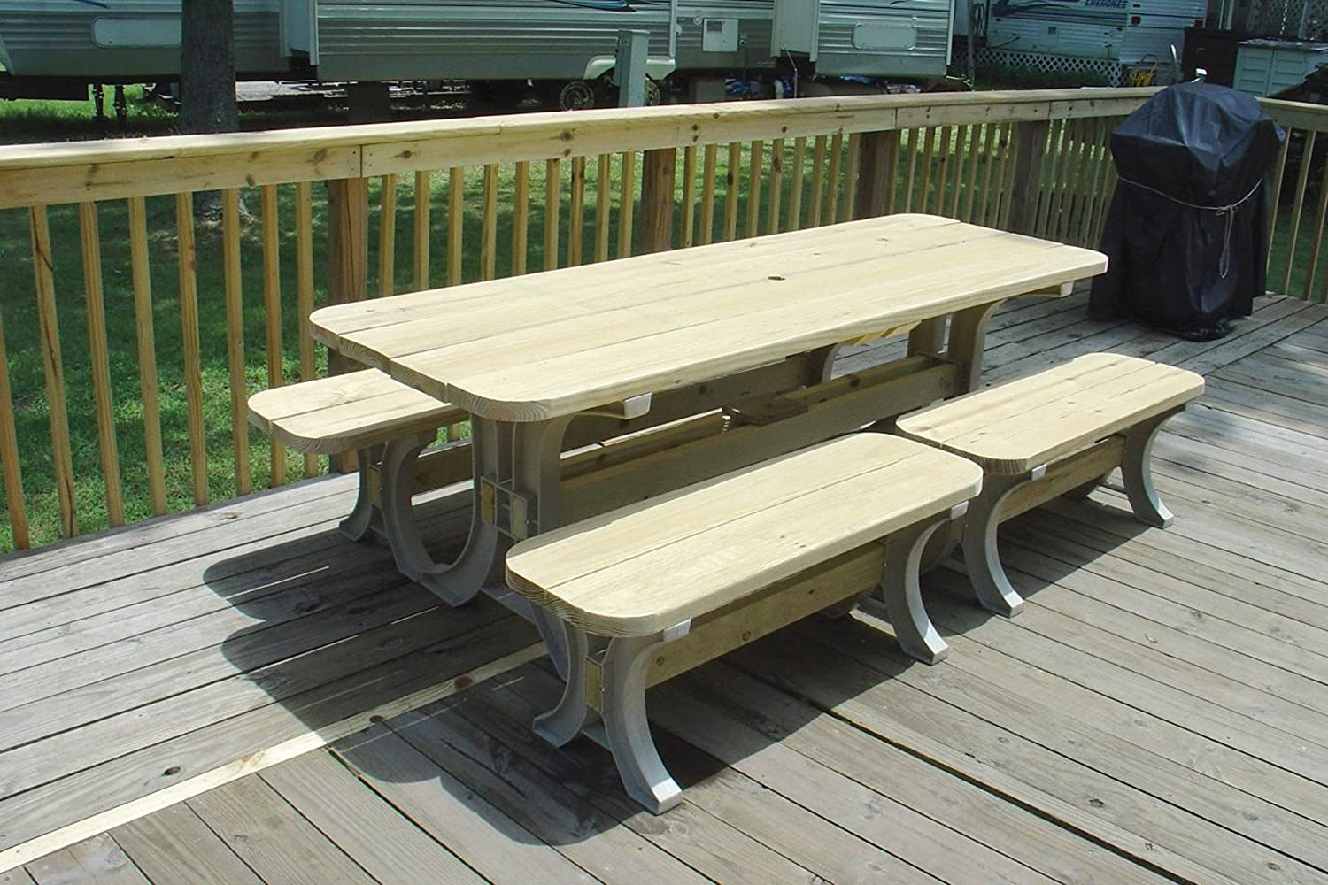 Amazon.com: Hopkins 90182ONLMI 2x4basics Picnic Table Kit, Sand (Frames  Only): Home Improvement