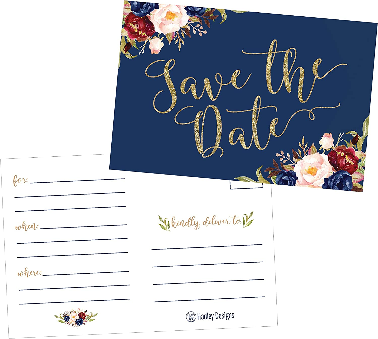 Amazon Com 25 Navy Floral Save The Date Cards For Wedding Engagement Anniversary Baby Shower Birthday Party Flower Save The Dates Postcard Invitations Simple Blank Event Announcements Health Personal Care
