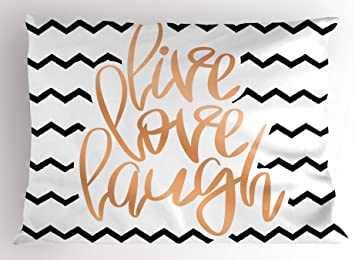 Ambesonne Live Laugh Love Pillow Sham Motivational Calligraphic Artwork With Zigzags Chevron Stripes Decorative Standard Queen Size Printed Pillowcase 30 X 20 White Peach Home Kitchen