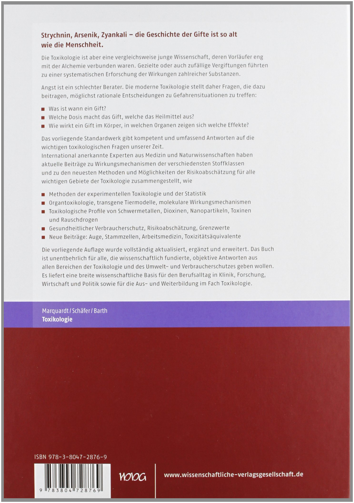 Toxikologie: Amazon.de: Hans Marquardt: Bücher